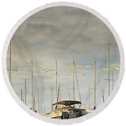 Boats In Harbor Reflection Round Beach Towel