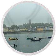 Boats In Irish Sea Round Beach Towel