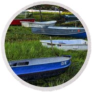 Boats In Marsh - Cape Neddick - Maine Round Beach Towel