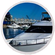 Boats In Port 2 Round Beach Towel