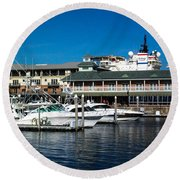 Boats In Port 3 Round Beach Towel
