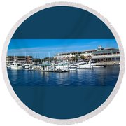Boats In Port 5 Round Beach Towel