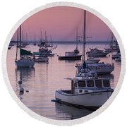 Boats In The Atlantic Ocean At Dawn Round Beach Towel