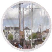 Boats In The Harbor 1905 Round Beach Towel