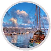 Boats In The Harbor Of Barcelona Round Beach Towel