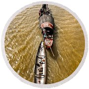 Boats In The Mekong River - Vietnam Round Beach Towel