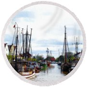 Boats In The Old Harbor Round Beach Towel