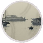 Boats In The Pacific Ocean, Bai Chay Round Beach Towel