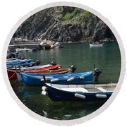 Boats In Vernazza Round Beach Towel