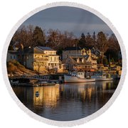 Boats Moored At Harbor During Dusk Round Beach Towel