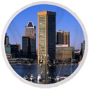 Boats Moored At Inner Harbor Viewed Round Beach Towel