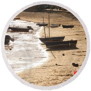Boats On Beach 02 Round Beach Towel by Pixel  Chimp