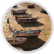 Boats On Beach Round Beach Towel by Pixel  Chimp