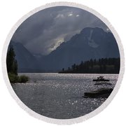 Boats On Jackson Lake - Grand Tetons Round Beach Towel