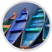 Boats On River Round Beach Towel
