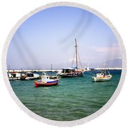 Boats On The Aegean Sea 1 - Mykonos - Greece Round Beach Towel