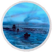 Boats On The Chesapeake Bay Round Beach Towel
