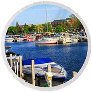 Boats On The Dock Traverse City Round Beach Towel