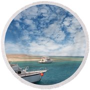 Boats On The Red Sea Coast Round Beach Towel