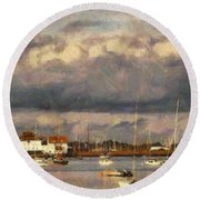 Boats On The River Round Beach Towel