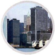 Boats - Schooner Against The Manhattan Skyline Round Beach Towel