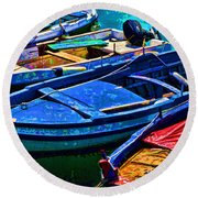Boats Snuggling - Sicily Round Beach Towel