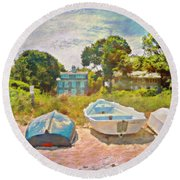 Boats Up On The Beach - Horizontal Round Beach Towel