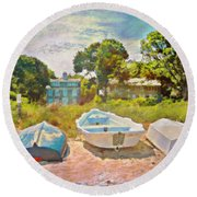 Boats Up On The Beach - Square Round Beach Towel