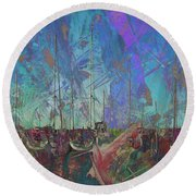 Boats W Painted Abstract Round Beach Towel