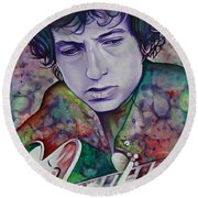 Bob Dylan-pink And Green Round Beach Towel by Joshua Morton