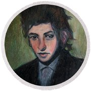 Bob Dylan Portrait In Colored Pencil  Round Beach Towel