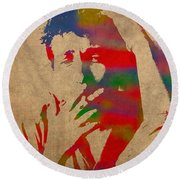 Bob Dylan Watercolor Portrait On Worn Distressed Canvas Round Beach Towel by Design Turnpike