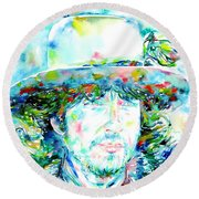 Bob Dylan - Watercolor Portrait.2 Round Beach Towel