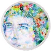 Bob Dylan Watercolor Portrait.3 Round Beach Towel