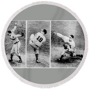 Bob Feller Pitching Round Beach Towel