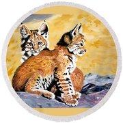Bob Kittens Round Beach Towel by Phyllis Kaltenbach