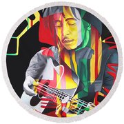 Bob Marley And Rasta Lion Round Beach Towel