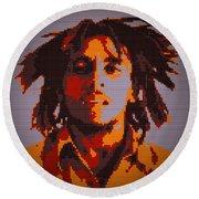 Bob Marley Lego Pop Art Digital Painting Round Beach Towel