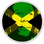 Bob Marley On Jamaican Flag Round Beach Towel