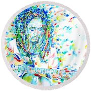 Bob Marley Playing The Guitar - Watercolor Portarit Round Beach Towel