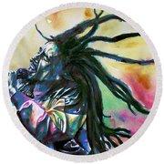 Bob Marley Singing Portrait.1 Round Beach Towel