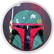 Boba Fett Star Wars Bounty Hunter Helmet Recycled License Plate Art Round Beach Towel