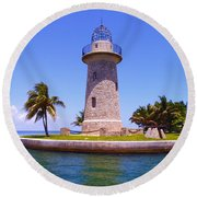 Boca Chita Lighthouse Round Beach Towel