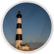 Bodie Island Lighthouse Moon Round Beach Towel