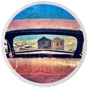 Bodie Through Car Window Round Beach Towel