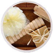 Body Care Accessories In Wood Tray Round Beach Towel