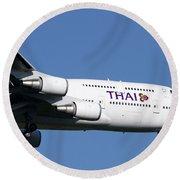 Boeing 747-400 Of Thai International Round Beach Towel