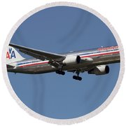 Boeing 767 Of American Airlines Round Beach Towel