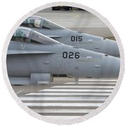 Boeing Fa-18 Hornets Of The Swiss Air Round Beach Towel
