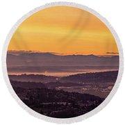 Boeing Seatac And Rainier Sunrise Round Beach Towel
